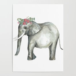 Ellie the Elephant and her flower crown Poster