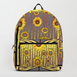 MODERN  ART DECO GOLDEN SUNFLOWERS  GREY-BLACK Backpack