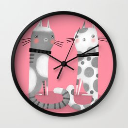 CATS ON PINK Wall Clock