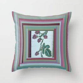 Painted Raspberries on Distressed Farmhouse Throw Pillow