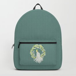 Cockatiel with daisy palm wreath Backpack