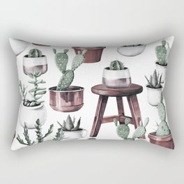 Happy Potted Cacti in Rose Gold Pots Rectangular Pillow