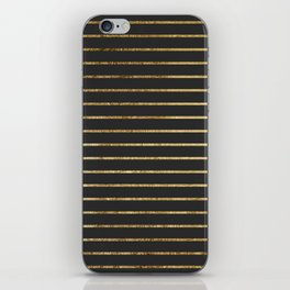 Elegant Chic Yellow Gold Stripes and Black iPhone Skin