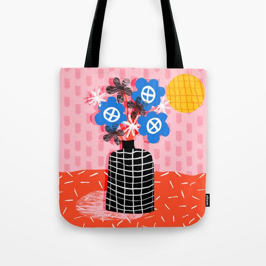 Works for Me - throwback retro memphis still life floral vase flowers grid pattern Tote Bag