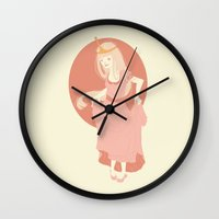 princess bubblegum Wall Clocks featuring Princess Bubblegum by Katie Addison Illustration