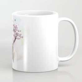 Deer portrait with flowering branches on the horns.Watercolor painting Coffee Mug