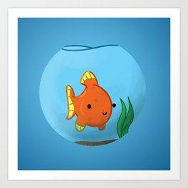Goldfish in a bowl: Happy! Art Print
