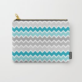 Turquoise Teal Blue Gray Chevron Carry-All Pouch