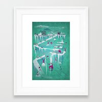 penguins Framed Art Prints featuring Penguins by Spires