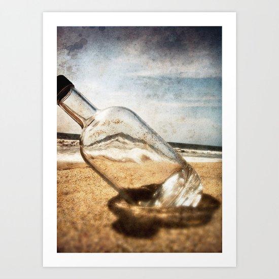 Bottle On Beach II Art Print