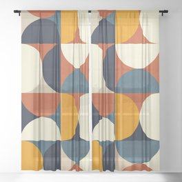 mid century abstract shapes fall winter 3 Sheer Curtain