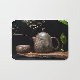Japanese Teapot with Lotus Blossom Flower Bath Mat