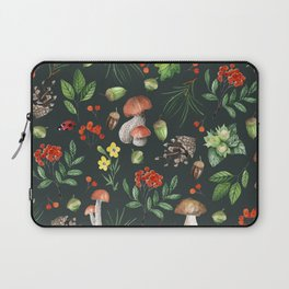Hand painted pink red green watercolor autumn pattern Laptop Sleeve
