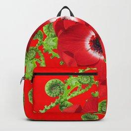 DECORATIVE RED SPRING FLOWER & GREEN FERNS SPIRALS Backpack