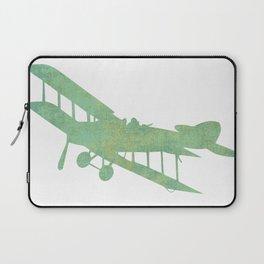 Green nursery airplane wall art print vintage Laptop Sleeve