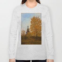 Village Church golden autumn Long Sleeve T-shirt