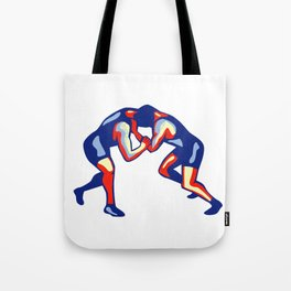 Freestyle Wrestling Retro Tote Bag