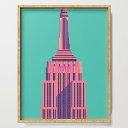 Empire State Building New York Art Deco - Green Serving Tray