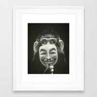 monkey Framed Art Prints featuring Anonymous by Dr. Lukas Brezak