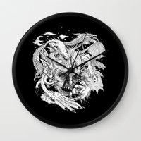 demon Wall Clocks featuring Demon by Gregery Miller