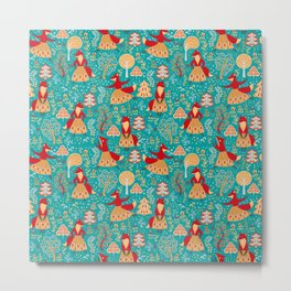 Dancing foxes in a fairy forest. Folk Art. Seamless pattern. Green background. Metal Print