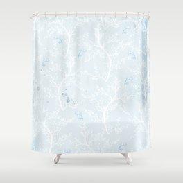 Japan Sakura Flowers - Blue Romance Shower Curtain