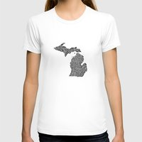 michigan T-shirts featuring Typographic Michigan by CAPow!