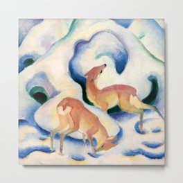 """Franz Marc """"Deer in the Snow"""" Metal Print"""