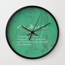Moxie Definition - White on Green Texture Wall Clock