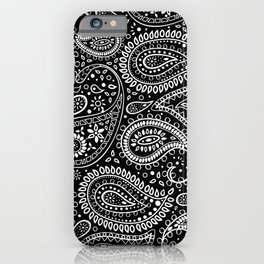 Beautiful Pattern of Paisley Art, Flowers, Doodles - Black and White iPhone Case
