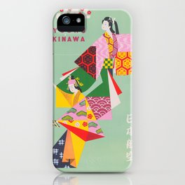 Japan Vintage Travel Poster, Colorful Kimonos iPhone Case