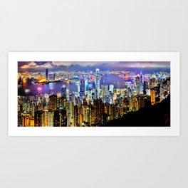 Hong Kong City Skyline Art Print