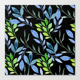 Blue and Green Leaves Canvas Print