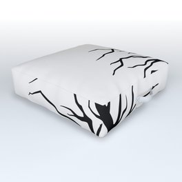 black silhouette of the willow tree without leaves Outdoor Floor Cushion