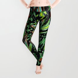 A Good Tropical Pattern With a Black Background is Hard to Find Leggings
