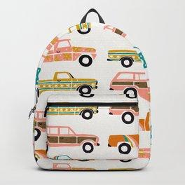 Retro Roads – White Backpack