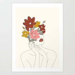 Colorful Thoughts Minimal Line Art Woman with Magnolia Art Print