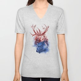 Red Stag and Blue Boar Unisex V-Neck