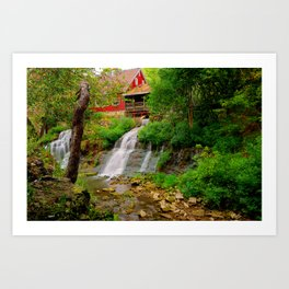 The Clifton Mill and Waterfall - Clifton Ohio Art Print