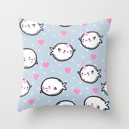 Cute narwhals. Throw Pillow