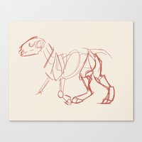 bull terrier Canvas Prints featuring Bull Terrier by Tooel