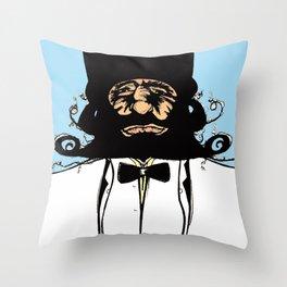 """Mustachat in Technicolor"" Throw Pillow"