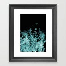 Ice Blue Flame on Black Framed Art Print