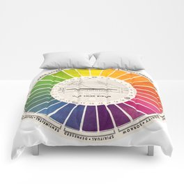 Vintage Color Wheel - Art Teaching Tool - Rainbow Mood Chart Comforters