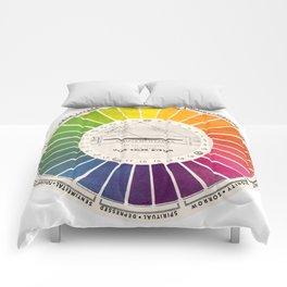 Vintage Color Wheel - Art Teaching Tool - Rainbow Mood Chart Comforters