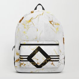 Abstract square golden marble pattern Backpack