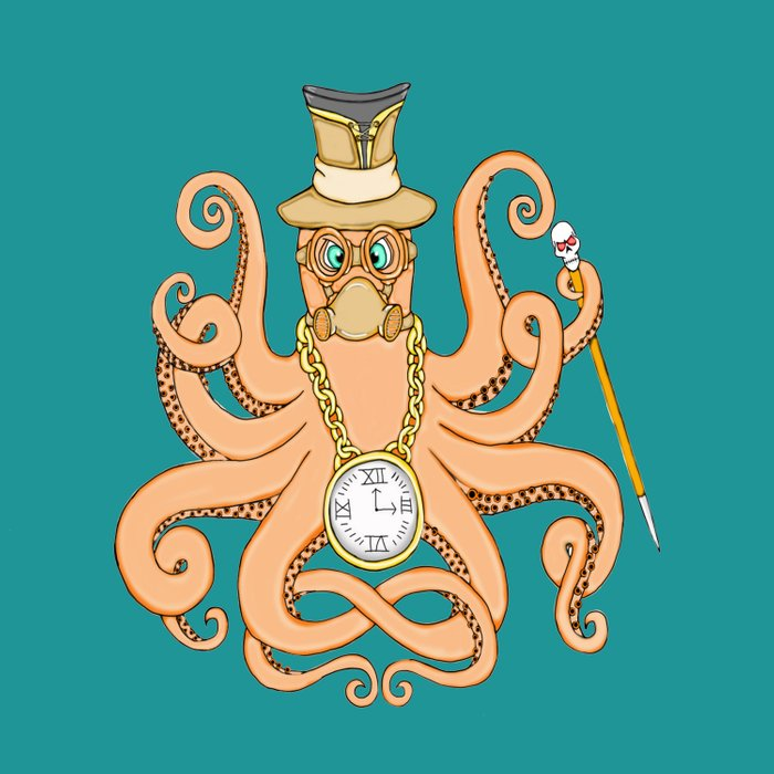 Steampunk Octopus Duvet Cover