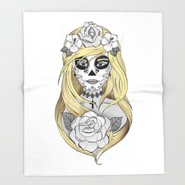 Santa Muerte Blond Throw Blanket