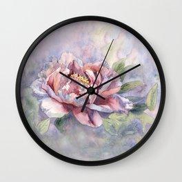 Pink Peonies Watercolor Flowers Peony Painting Floral art print Wall Clock
