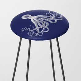 Octopus | Navy Blue and White Counter Stool